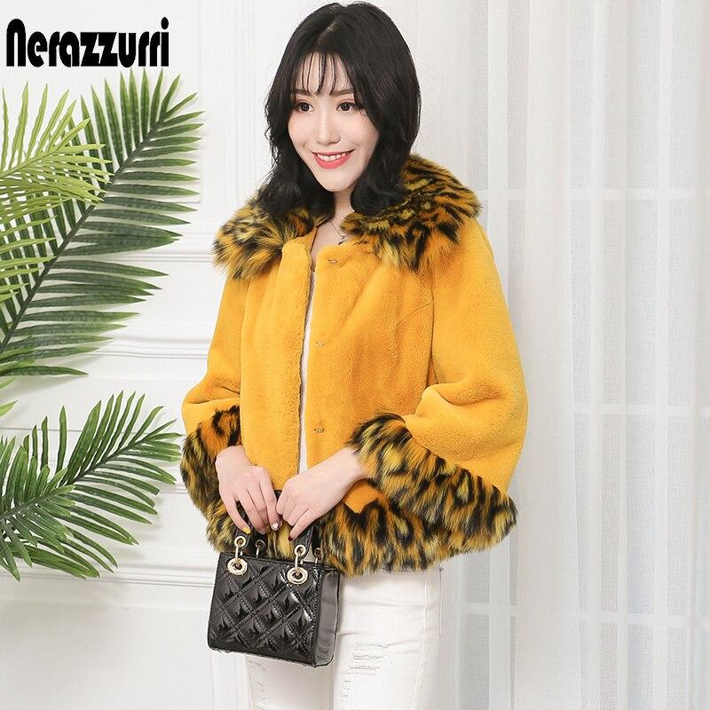 Nerazzurri Winter Short Faux Fur Coat Women With Tiger Print Fox Fur Trim Plus Size Yellow Fall Fake Fur Jacket Fluffy Furry Top