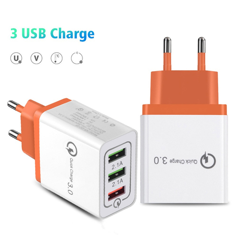 3 Ports Quick Charger 3.0 USB Charger Power Wall Adapter for iPhone iPad Samsung Xiaomi Mobile Phones QC3.0 Travel Fast Charger Pakistan