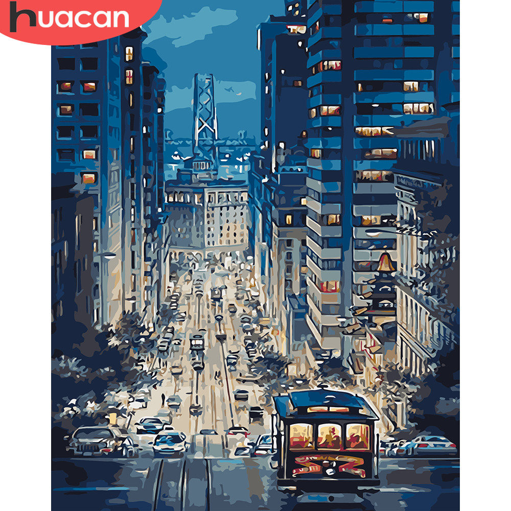HUACAN Painting By Numbers Landscape DIY Oil Coloring By Numbers City Scenery Canvas Painting Art Pictures Living Room Gift