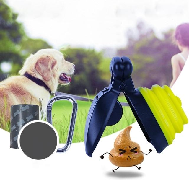 Silicone Plastic Dog Pet Travel Foldable Pooper Scooper Poop Scoop Clean Pick Up Cleaner With Litter Bag Holder 5
