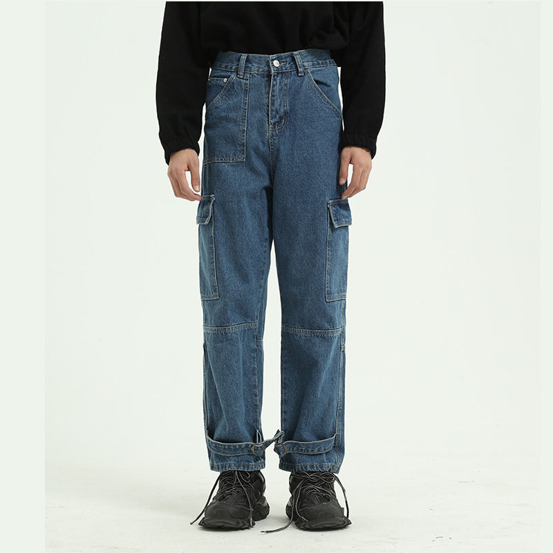 Men Multi-pocket Denim Cargo Pant Male Vintage High Street Hip Hop Straight Jeans Trousers