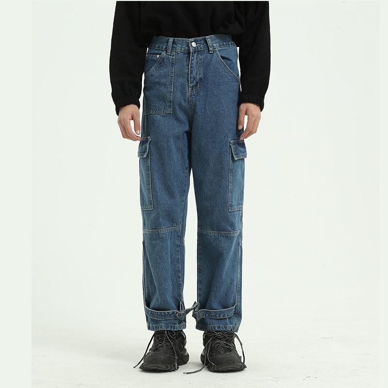Men Multi-pocket Denim Cargo Pant Male Vintage High Street Hip Hop Straight Jeans Trousers