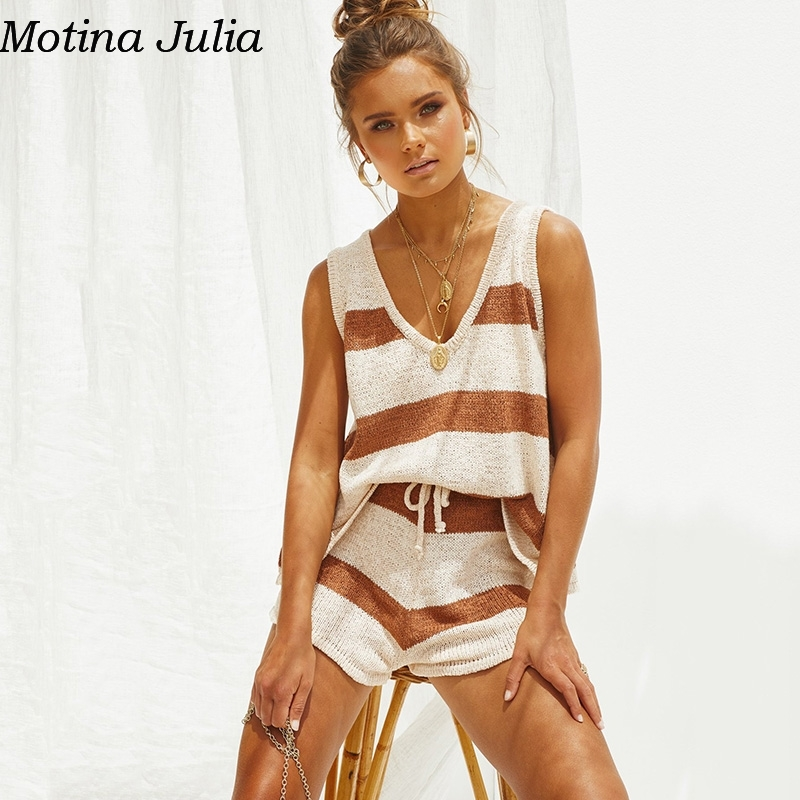 Motina Julia Striped V Neck Knitted Jumpsuit Romper Elegant Summer Sexy Loose Beach Playsuit Women Casual Daily Overalls