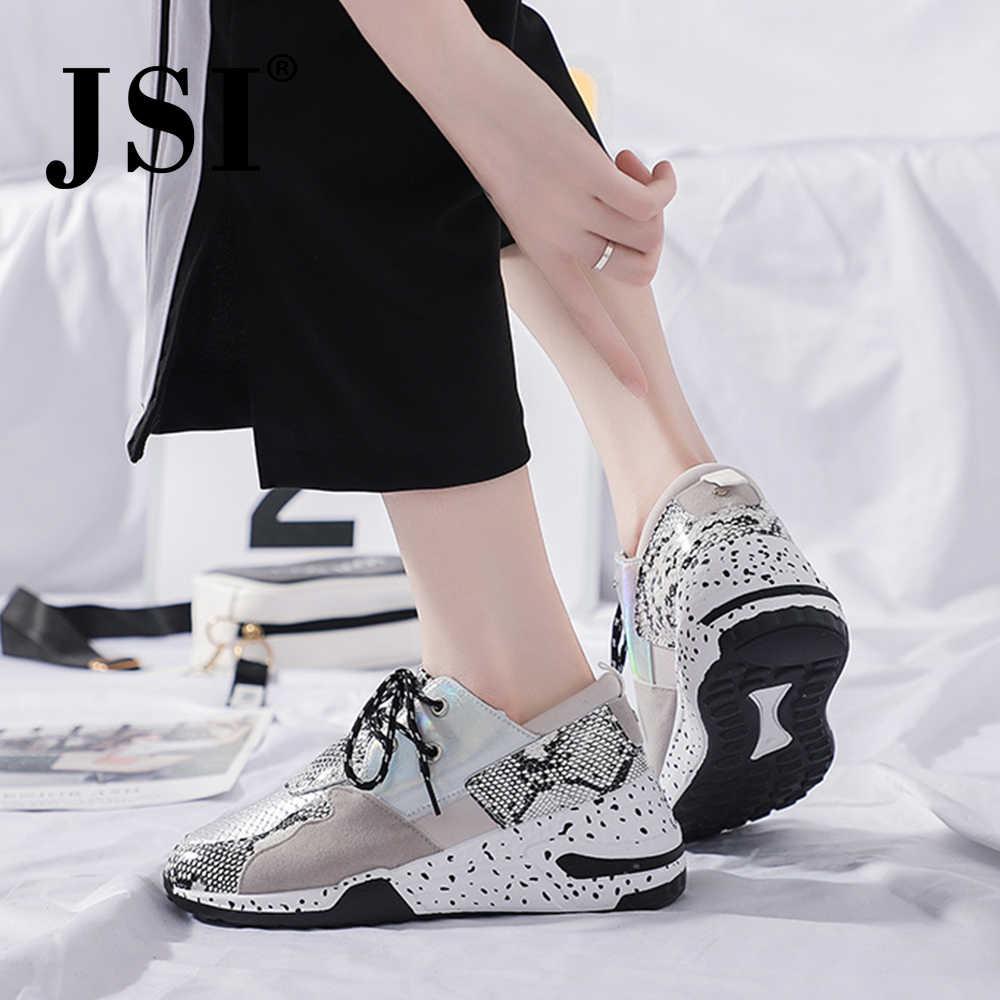 Jsi Vrouwen Sneakers Fashion Snake Print Lace-Up Ronde Neus Microfiber Ondiepe Stevige Schoenen Chunky Platform Casual Vrouwen Flats JX54
