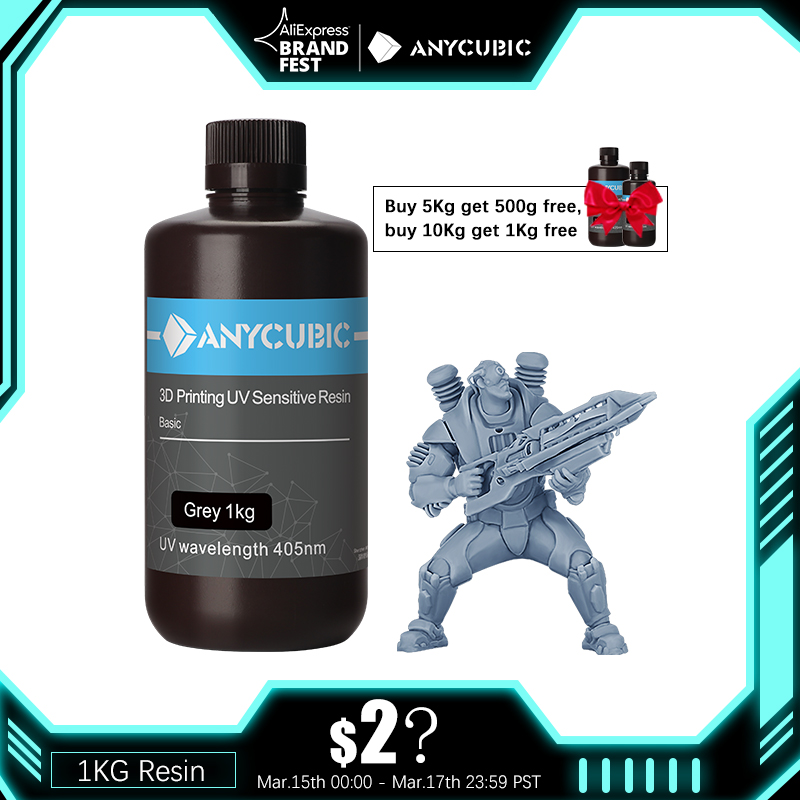ANYCUBIC 500 г/1 кг жидкая Фотополимерная Смола 405nm УФ смола для ЖК-дисплей 3D-принтеры печать Материал Для Фотон/Фотон S/Фотон подойдет как для повс...