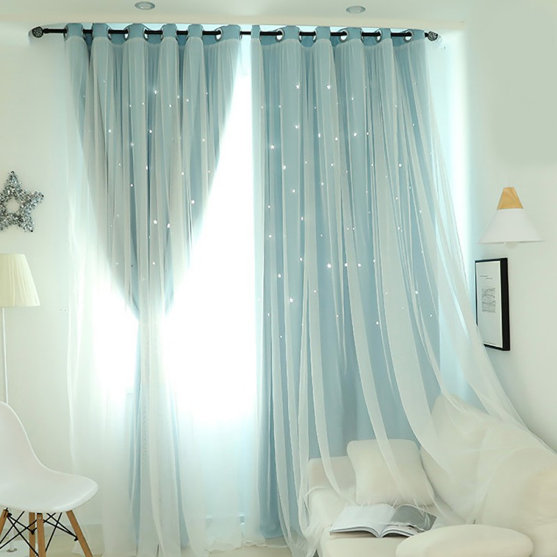 Modern Stars Window Curtains For Living Room Bedroom Kids Room Pink Blue Grey Voile Tulle Curtain Double Layer Door Curtains