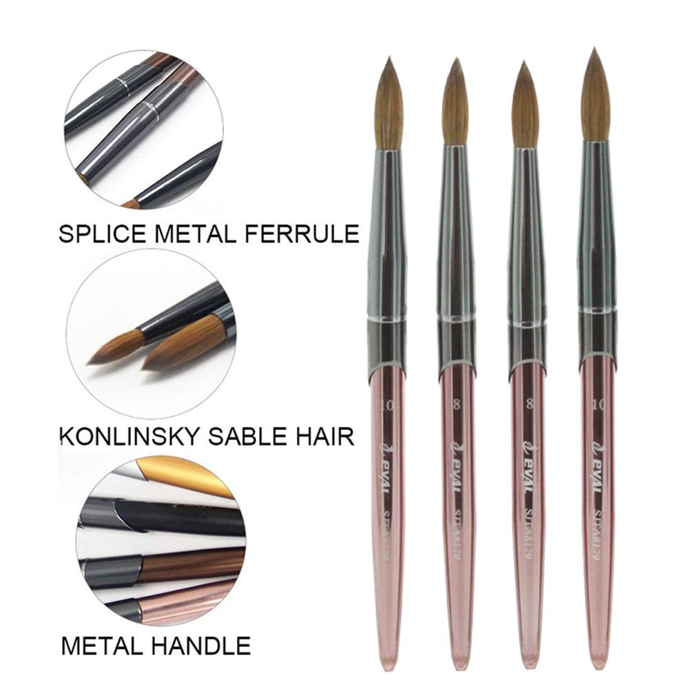 Eval Nail Brush 100% Pure Kolinsky Sable Nail Paint Brush UV Gel Acrylic Nail Art Brush Set Nail Beauty Tools