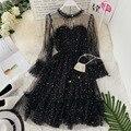 Женские блестящие сетчатые платья со звездами для выпускного вечера, платье принцессы с расклешенными рукавами на шнуровке, элегантные рож...