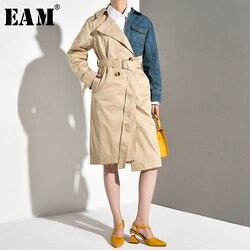 Женский джинсовый Тренч EAM, длинный Тренч-ветровка контрастных цветов с отложным воротником и длинным рукавом, весна-осень 2020
