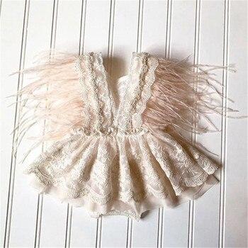 Pelele de encaje de princesa para niñas de 0 a 24 meses, Mono Blanco con espalda descubierta de encaje, moda de verano sin mangas, mono con borla de pluma, 2021