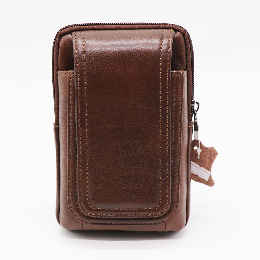 Genuine Leather 5.5-6' Mobile Phone Punch Case Cell Phones Cover Zipper Bag Men's Cross Belt Waist Fanny Pack