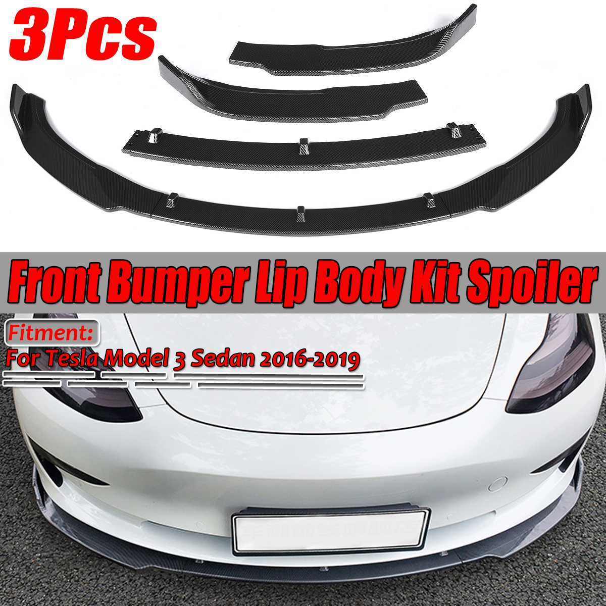 New 3Pcs Carbon Fiber Look/Black Car Front Bumper Splitter Lip Body Kit Spoiler Diffuser Guard For Tesla Model 3 Sedan 2016-2019