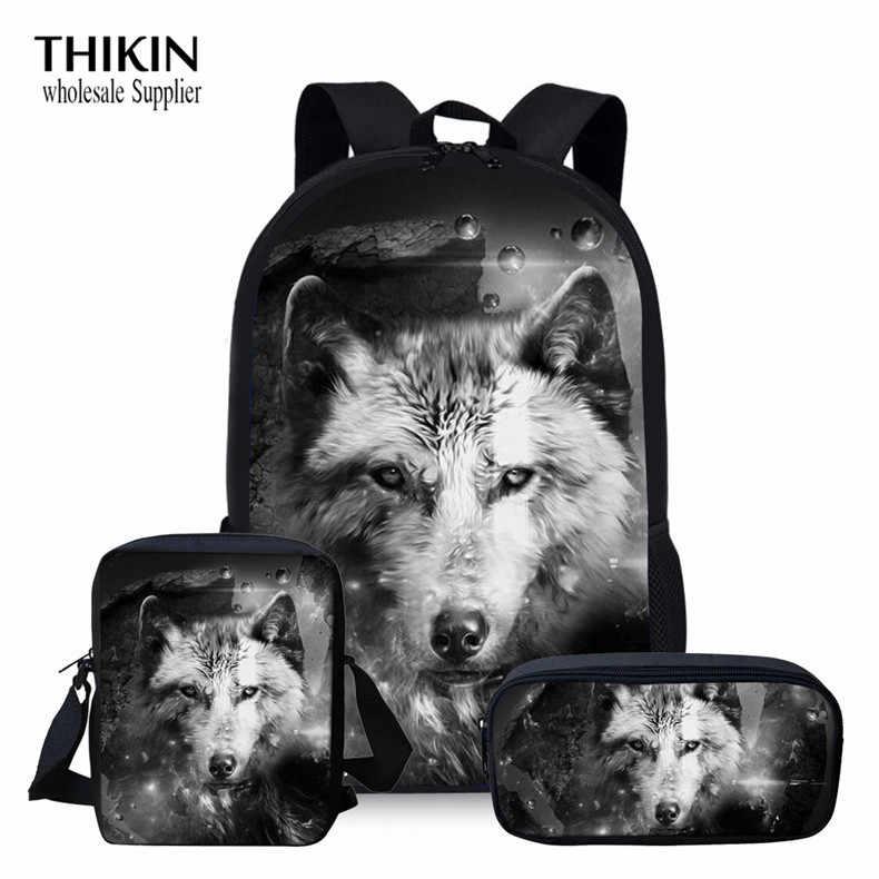Thikin 3 Stks/set Studenten Boekentas Blauw Wolf Print Kids Custom Kinderen Schooltassen 3D Koele Dierlijke Patroon Grote Schouder Rugzak