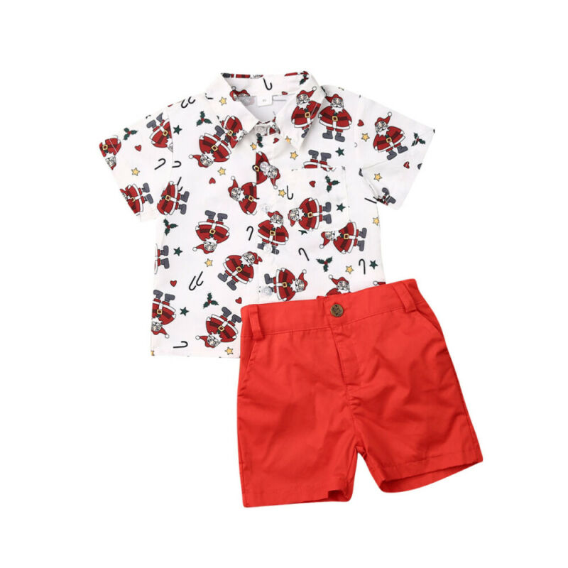 pollyhb Baby Outfits Gentleman Baby Boy Short-Sleeve Bow Tie Solid Color Shirt Strap Shorts Outfit
