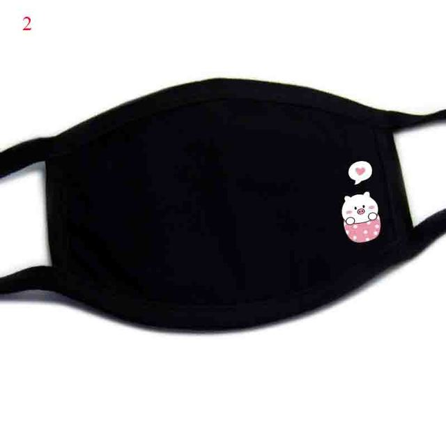 Windproof Mouth Repeatable Face Mask Cartoon Anti Reusable covers mouth Masks washable kawaii anime Dogs Black Mask reusable 4