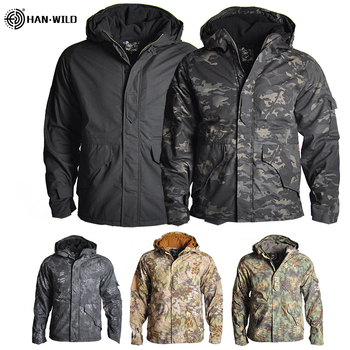 HAN WILD Outdoor Jackets Hiking Jacket Men Fleece Camouflage Hunting Clothes Men Tactical Military Uniform Windproof Windbreaker mens military army combat tactical windbreaker hiking outdoor jacket men water resistant outerwear hoodie coat hunting clothes