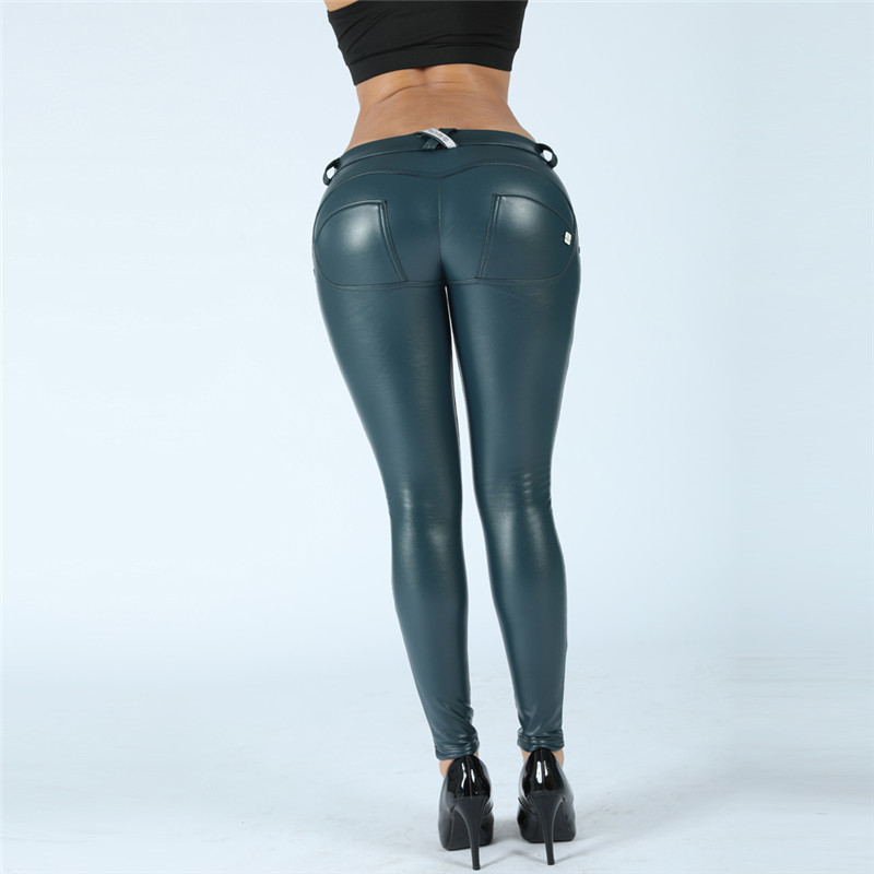 Four Ways Stretchable Melody Pants Soft Leather Look Leggings Blue Leather Pants Female Trousers