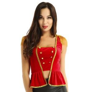 Image 4 - Frauen phantasie kleid circus kostüm top Weiche Samt Square Neck Sleeveless mit Epauletten Shirt Top Halloween Circus Kostüm Top