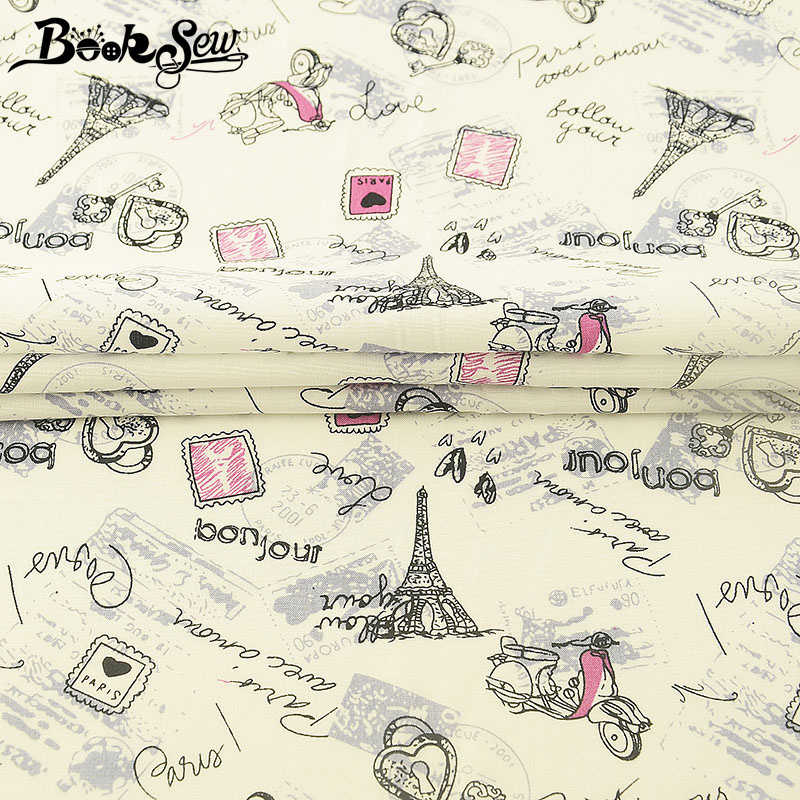 Booksew 100% Cotton Poplin Eiffel Tower Fabric Telas Meters Quilting  Home Textile Tissue Telas For Shirt Clothing Craft Dress