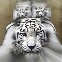 3Pcs/4pcs Fashion 3D Lifelike White Tiger Cotton Bedding Set Duvet Cover Bed Sheet with Pillowcases Twin Queen King Size 30E(China)