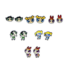 F141 2019 New Cute The Powerpuff Girls Blossom Bubbles Buttercup Character Stud Earring Stainless Steel Pierced Earrings
