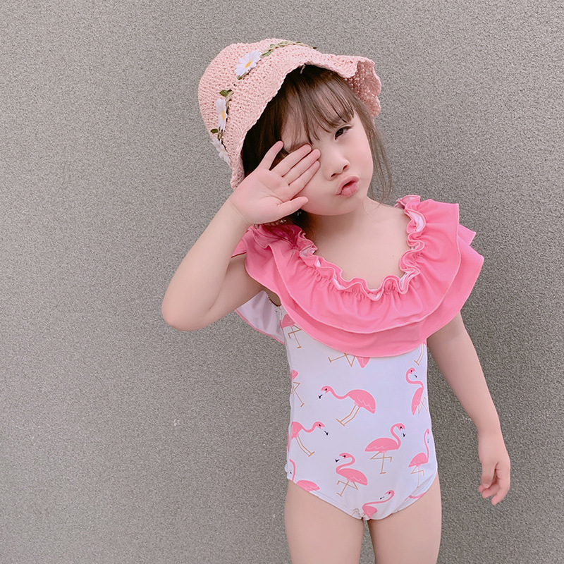 2019 New Style Hot Sales INS KID'S Swimwear One-piece Cartoon Printed Double Layer Flounced Hipster GIRL'S Swimsuit