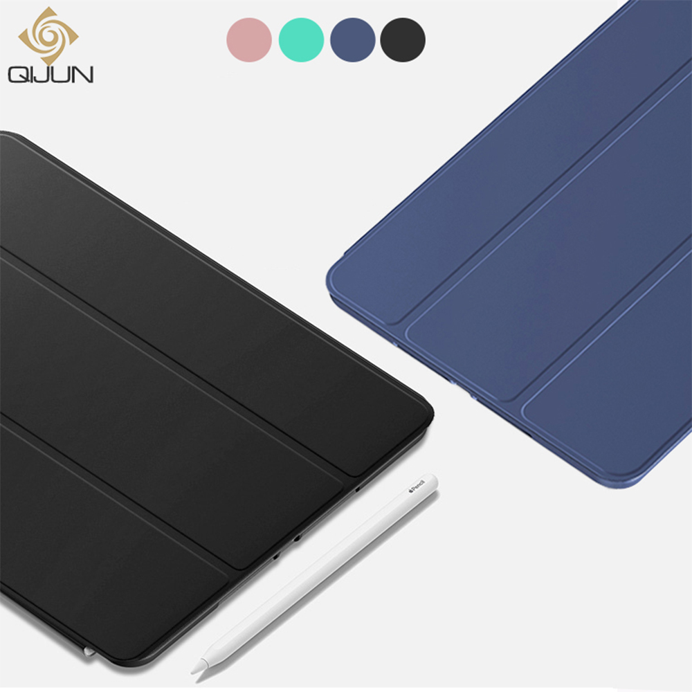 QIJUN Case For IPad 10.2 Inch 2019 Stand Auto Sleep Smart PC Back Folio Cover For IPad 7th Gen A2200 A2123 Funda Protective Case