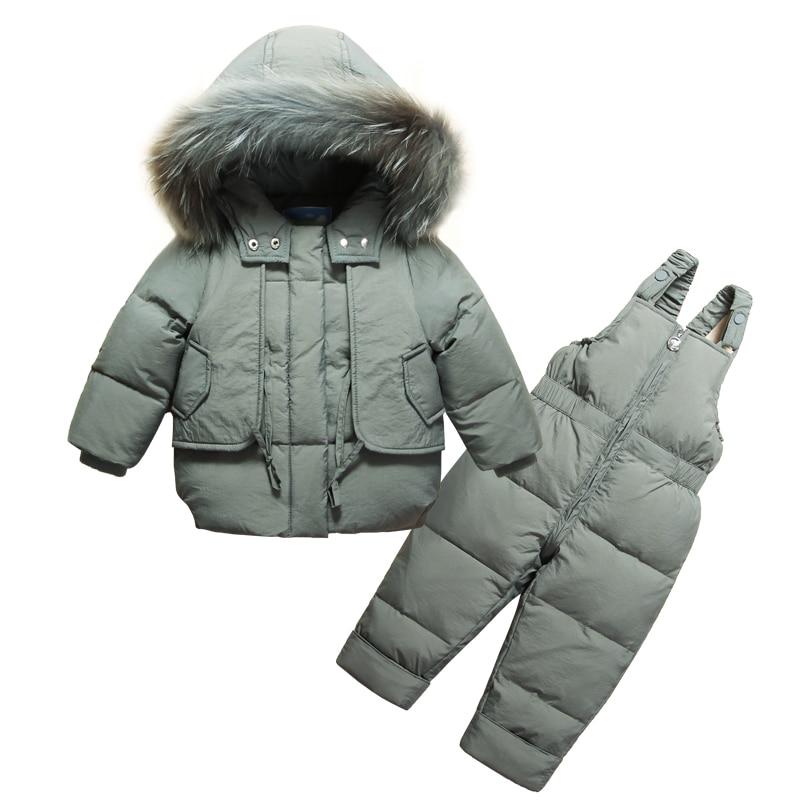 OLEKID Winter Baby Clothes Set Hooded Warm Down Jacket Coat Overalls Baby Girls Suit 1-4 Years Kid Boy Snowsuit Infant Snow Wear