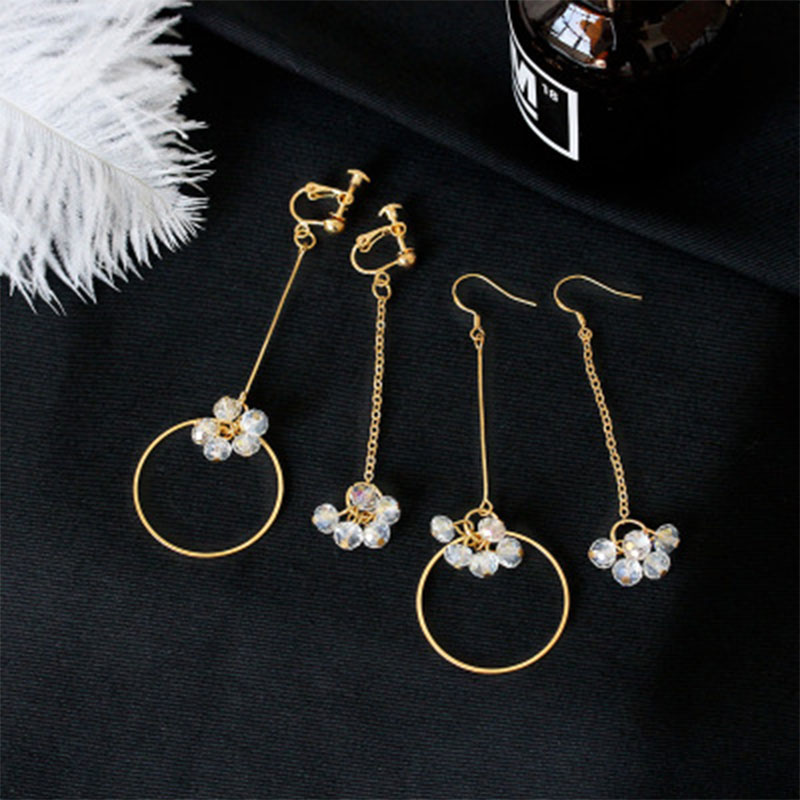 Fashion Tassel Drop Earrings for Women Asymmetrical Crystal Earrings Flower Ear Clip Earring Jewelry Wholesale Party Gift WD502 in Drop Earrings from Jewelry Accessories