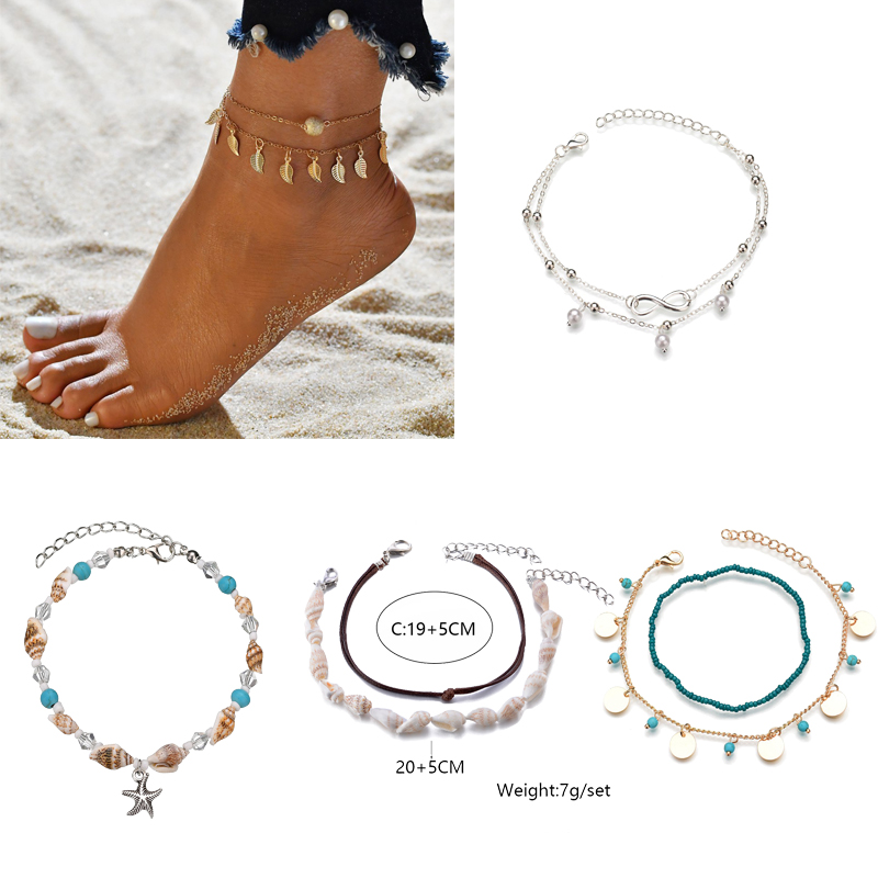 Bohemia Anklets For Women Feather Multilayer Foot Chain Gold Starfish Beaded Summer Beach Jelwelry 2020 New Anklets