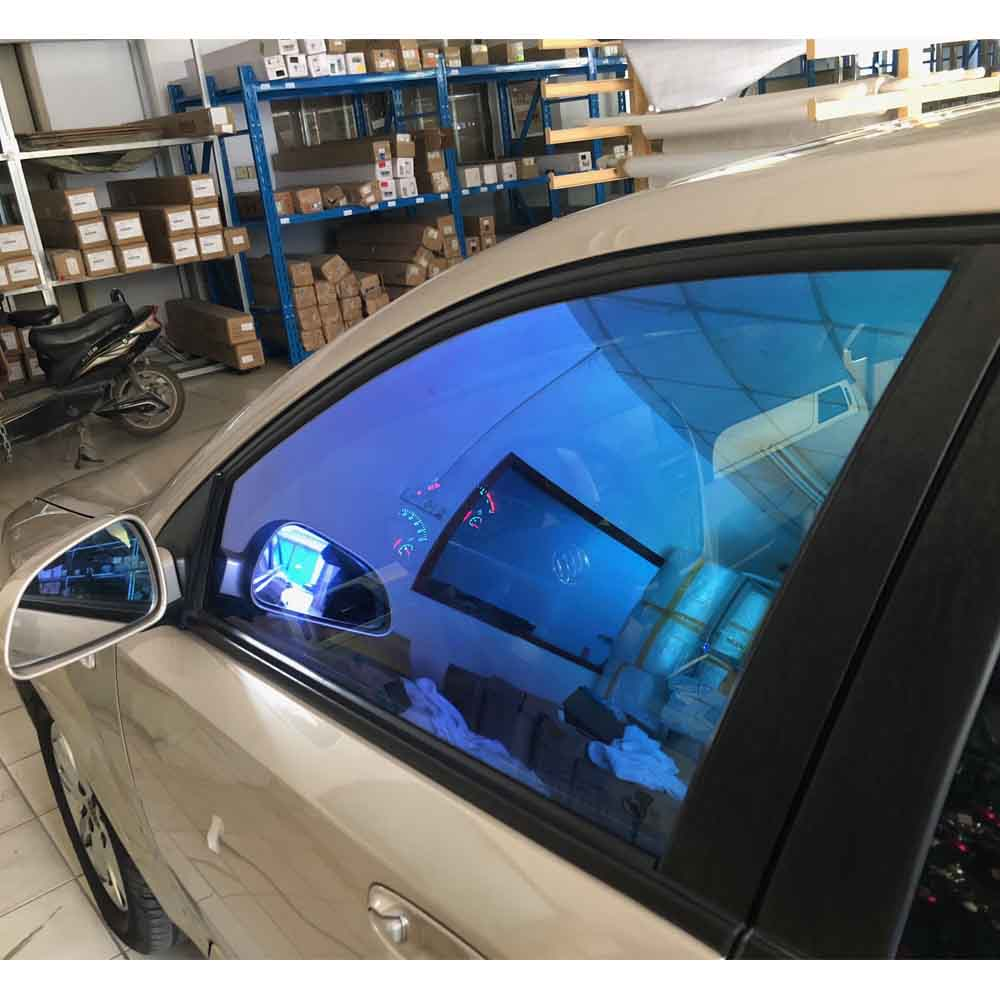 SUNICE 100*400cm Chameleon Car Window Tint 55%VLT For Car Back Side Window Blue Chameleon Glass Tint For Car Solar Protection