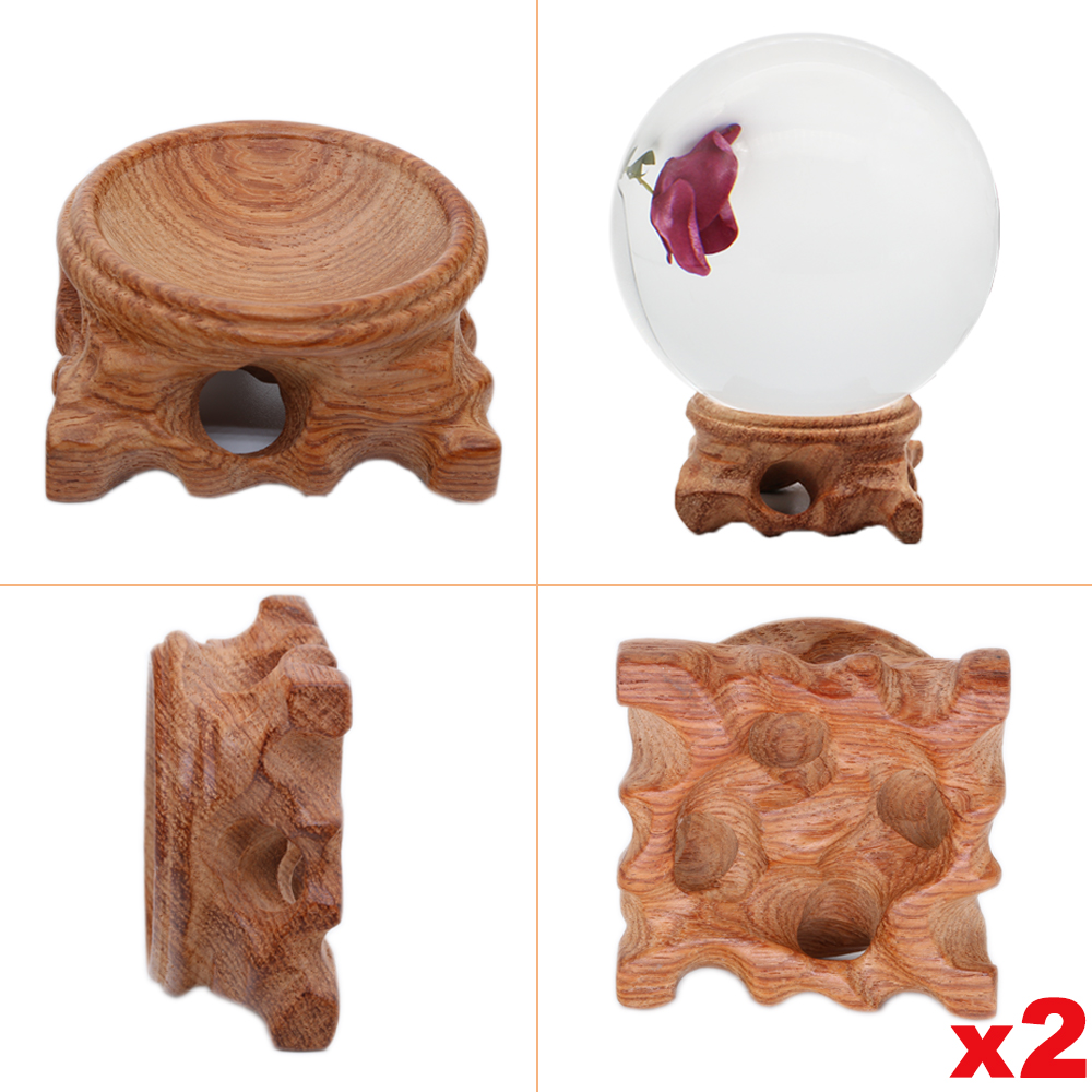 2pcs Wood Display Stand For Crystal Glass Ball Large Divination Photography Lensball Base 60 80mm 100mm Big Magic Sphere Holder