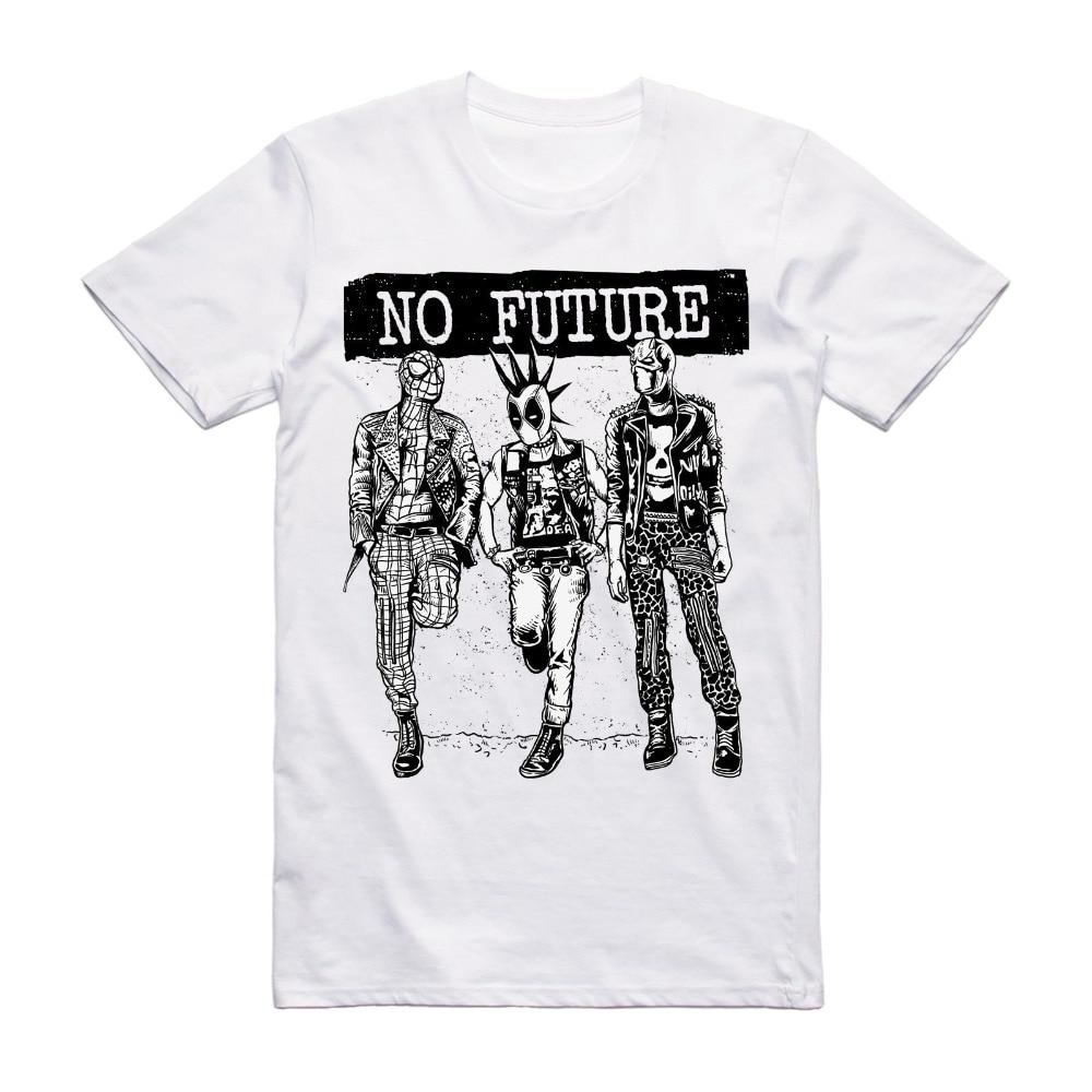 Men Tops Tees 2019 Summer Fashion New No Future Super Hero Punk T Shirt - Music Tee Rock Festival Clothing Grunge Tee T Shirts