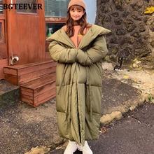 BGTEEVER, большой размер, длинный женский пуховик, пальто со стоячим воротником, утепленные парки, Женское зимнее пальто, на шнуровке, с подкладкой, куртки, Femme