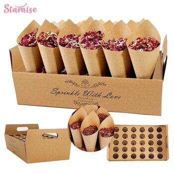 Staraise Kraft Paper Rose Dried Flower Confetti Cone Stand Box Tray For Wedding Decoration Custom Confetti Cones-White-Kraft