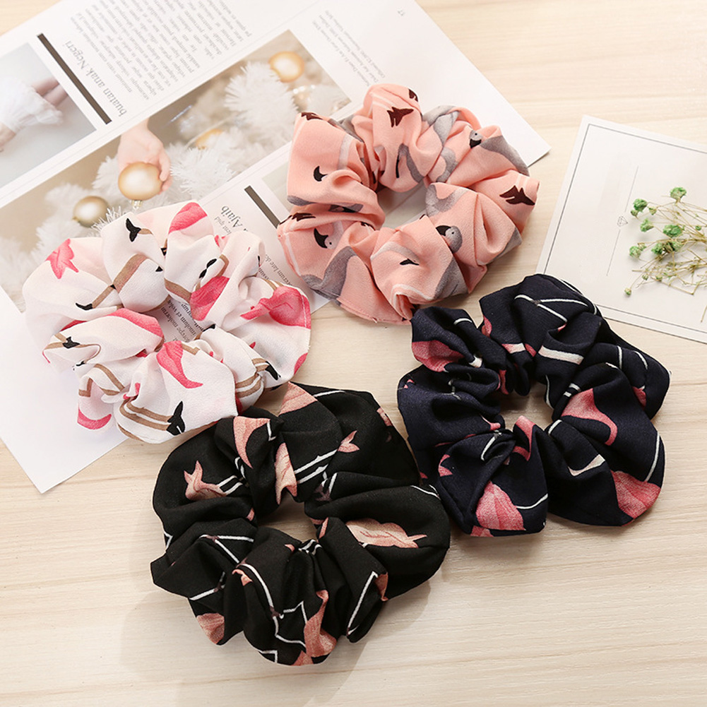 Women Hair Tie Floral Flamingo Solid Houndstooth Design Hair Accessories Scrunchie Ponytail Hair Holder Rope Free Shipping