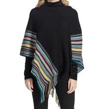 цена на 2019 Fashion Women Blanket Oversized Color Stripe Pattern Coat Wrap Cozy Shawl Poncho Scarf Wrap Shawl Winter Tassel Long