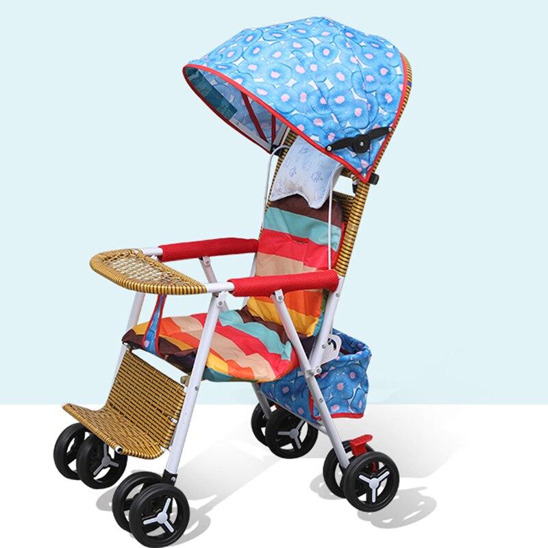 Baby Rattan Stroller Light Summer Folding Bamboo Rattan Stroller Child Rattan Chair Baby Bamboo Rattan Trolley