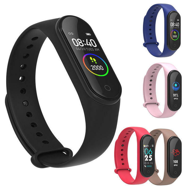 Color screen smart sports bracelet swimming step counter call message remind blood pressure heart rate bracelet watch
