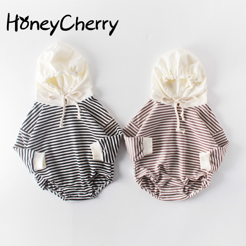 Autumn Baby Girl Bodysuits Clothes Baby Stripes Neonatal Hats Overalls And Crawling Clothes