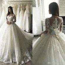 Женское свадебное платье с длинными рукавами, роскошное кружевное бальное платье невесты с аппликацией, ЮАР Дубай, 2021
