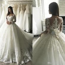 Vestido De novia De manga larga De encaje, vestidos De lujo De Sudáfrica, Dubái, apliques De princesa, novia, 2021