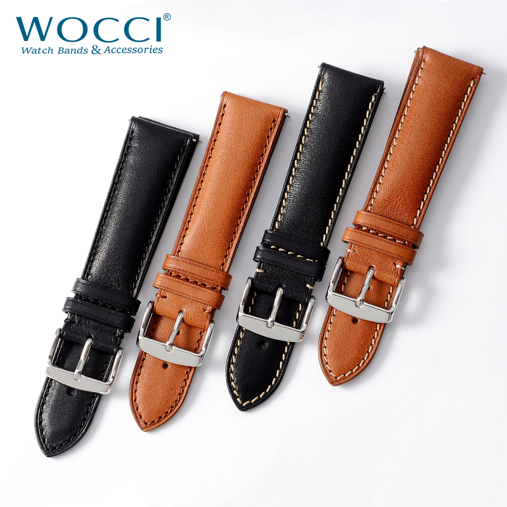 WOCCI Genuine Leather Watch Bracelet For Men Women Watch 18mm 20mm 22mm Quick Release Watcheband Strap Black Brown With Tool