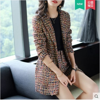 New 2019 Winter Celebrity Inspired Women Suits Shorts Set Coat 2 Piece Ladies Colorful Tweed Jackets+Front Mini Short