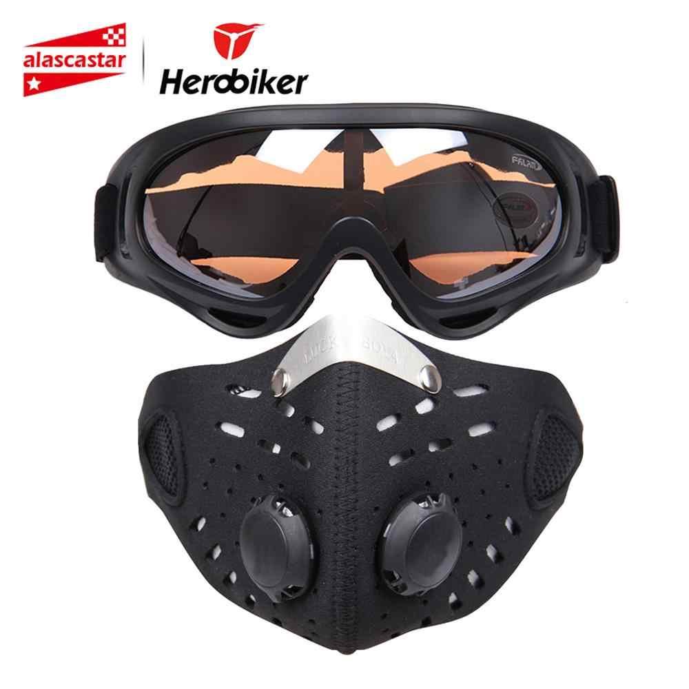 HEROBIKER دراجة نارية قناع الوجه درع بالاكلافا نظارات التزلج في الهواء الطلق السائق دراجة الدراجات قناع الوجه دراجة نارية الملونة حملق