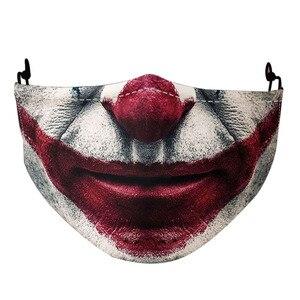 Mascarillas del Joker 3D con estampado de calavera para adultos, divertidas máscaras del Troll para la boca, Cosplay, fiesta de Halloween, reutilizables, lavables, antipolvo