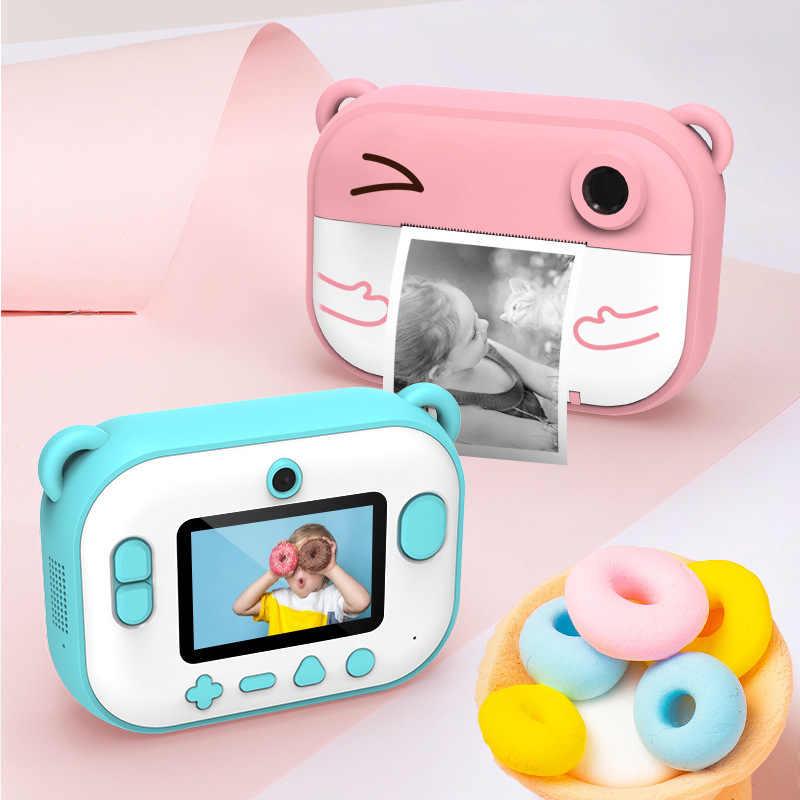Мини HD Piexel видео, Детская печатная камера, термопринтер, двойной объектив, светодиодная вспышка, IPS экран, детский подарок, DIY стикер, фото камера