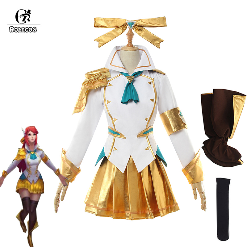 ROLECOS Game LOL Lux Cosplay Costume LOL Battle Academia Prestige Lux Cosplay Costume Women Uniform Full Set Top Skirt