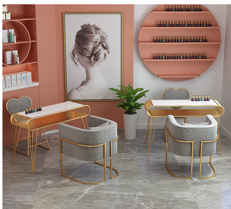 Golden Marble Manicure Table And Chair Single Double Three Person Manicure Table Manicure Table Manicure Shop Table And Chair