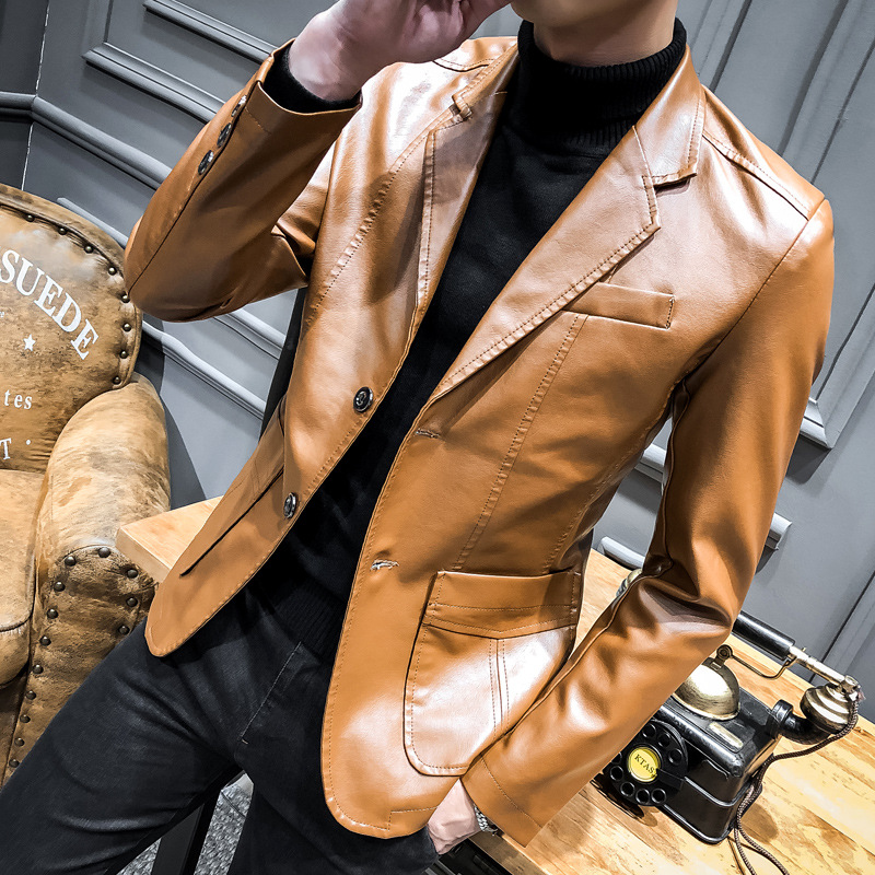 2019 Spring New Style Suit Collar PU Leather Suit Men Slim Fit Fold-down Collar Casual Small Suit Coat Leather Jacket Men's
